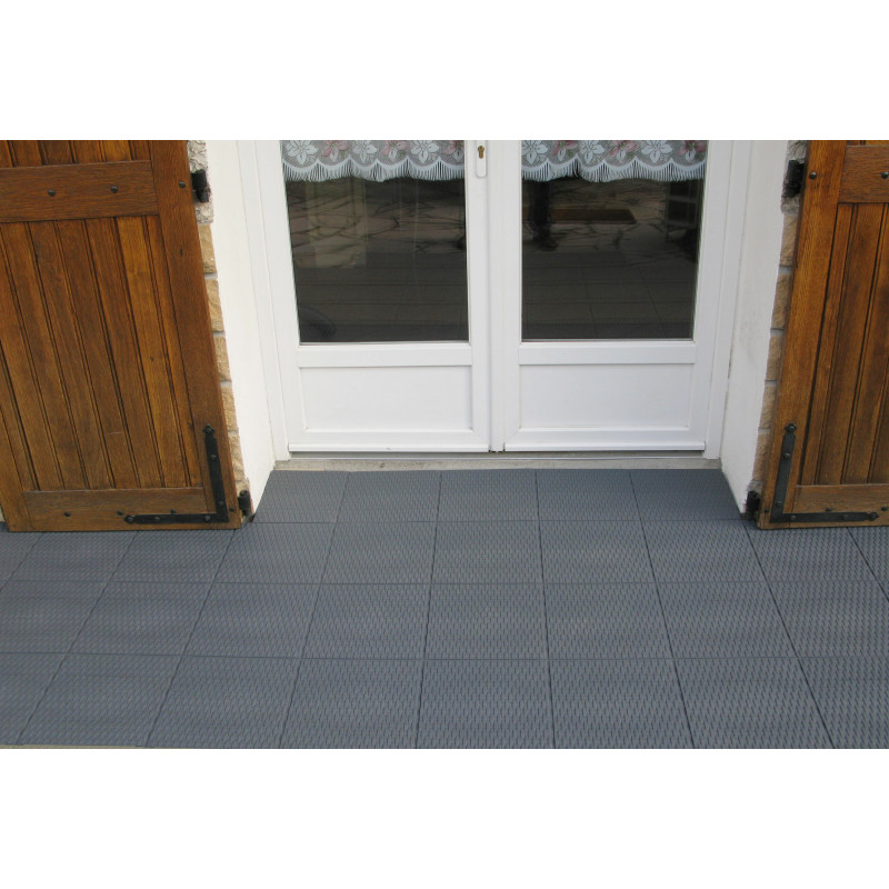 Dalle de terrasse clipsable en plastique gris ardoise - Dalle clipsable terrasse ...