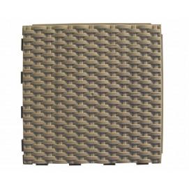 Dalle de jardin clipsable tressée brun argile 28 x 28 cm