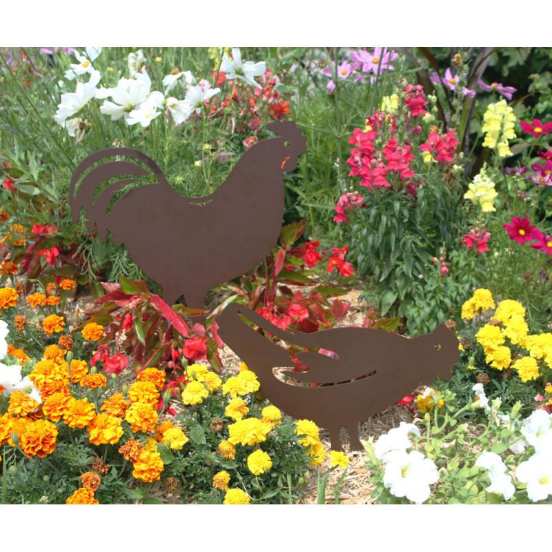 Silhouette poule et coq en métal pour la déco du jardin