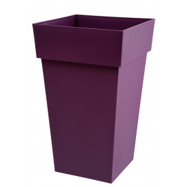 Grand pot de fleurs carré prune 39 x 39 x 65 cm