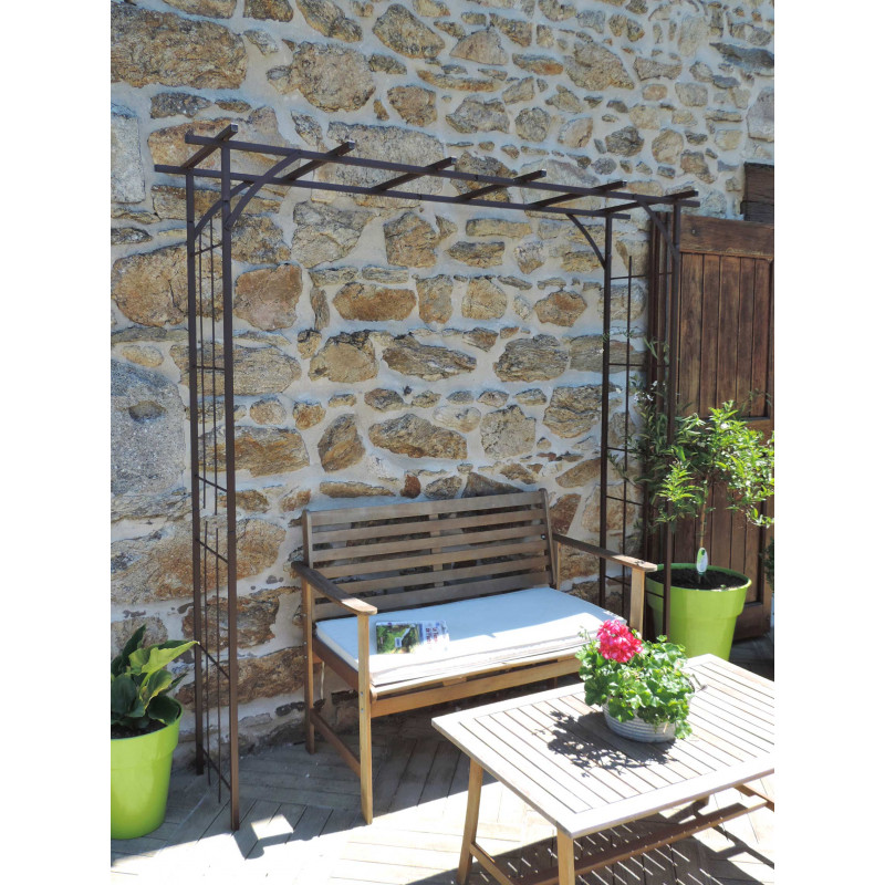 pergola de jardin double droite en acier par jardin et saisons. Black Bedroom Furniture Sets. Home Design Ideas