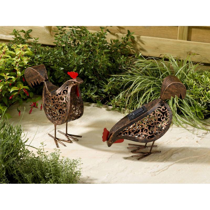 poule solaire oiseau lumineux pour la d coration du jardin. Black Bedroom Furniture Sets. Home Design Ideas