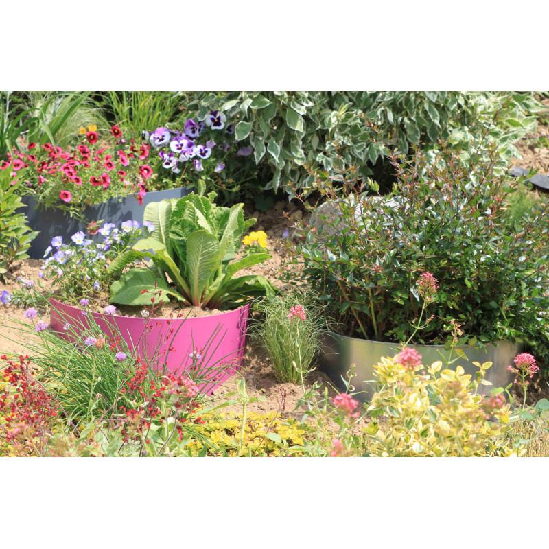 Votre bordure de jardin demi lune en acier fushia pour talus for Jardin lune