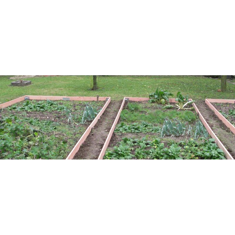 Bordure en bois pour potager avec plaque de jonction Jardin et Saisons