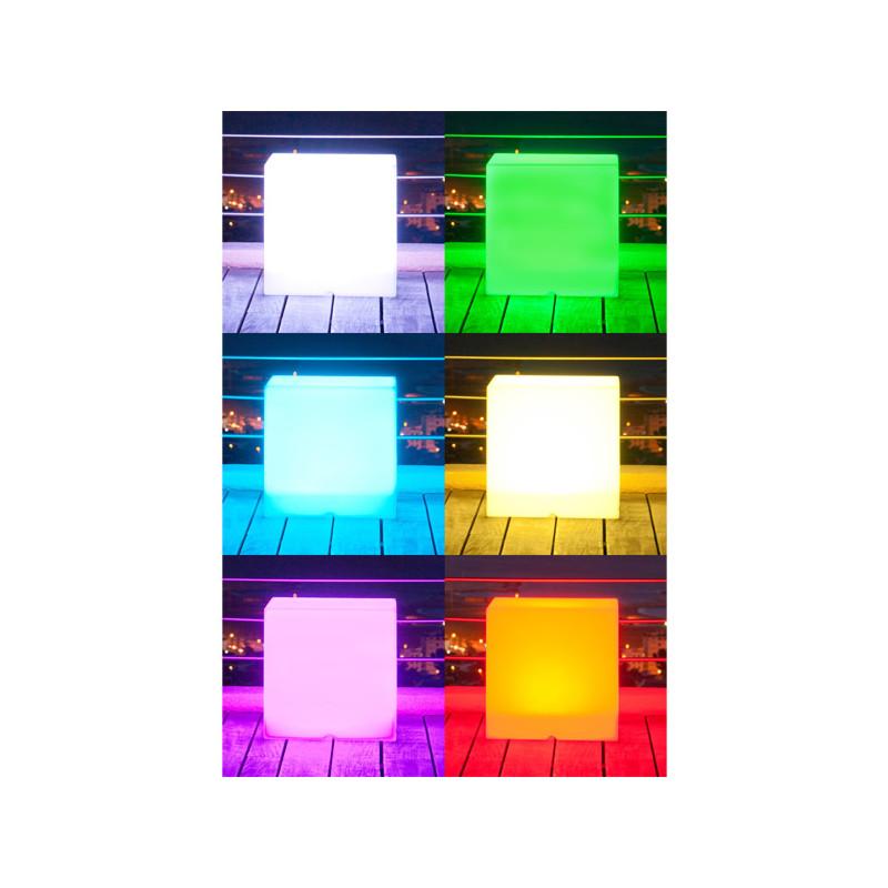 Cube lumineux multicolore sans fil jardin et saisons for Cube lumineux exterieur sans fil