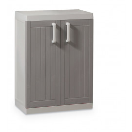 Armoire basse 2 portes gris taupe