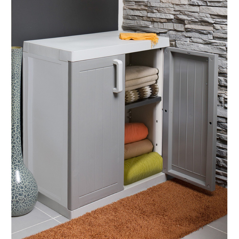 armoire basse 2 portes gris taupe jardin et saisons. Black Bedroom Furniture Sets. Home Design Ideas