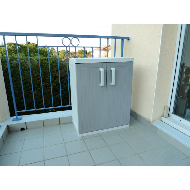 Armoire basse 2 portes gris taupe jardin et saisons for Armoire de jardin taupe