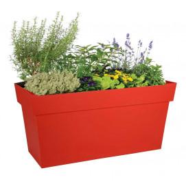 Bac jardinière à roulettes rouge