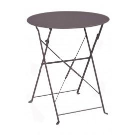 Table de jardin ronde pliante en métal couleur taupe