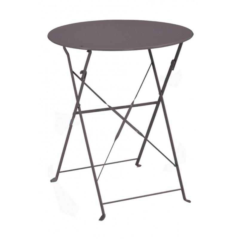 Table de jardin ronde pliante en m tal et taupe jardin for Table de jardin metal pliante