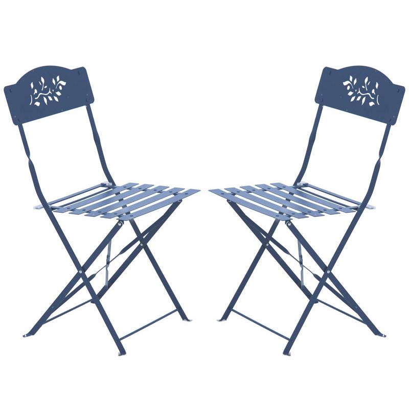 chaises de jardin pliantes en m tal bleues 2 jardin et. Black Bedroom Furniture Sets. Home Design Ideas