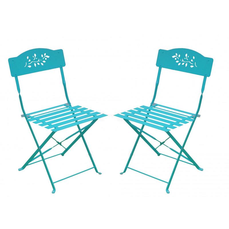 Chaises De Jardin Pliantes En M Tal Bleues 2 Jardin Et