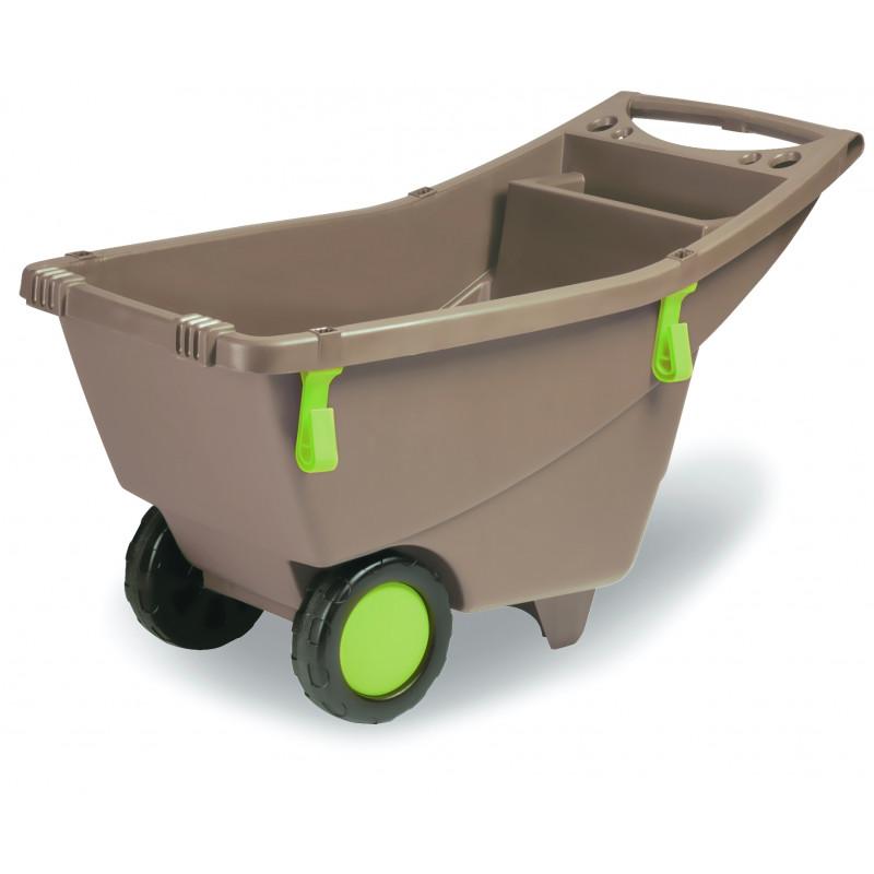 Chariot brouette de jardin 2 roues 140 litres jardin et saisons - Brouette de jardin plastique ...