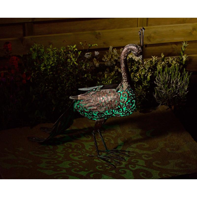 Votre paon d coratif solaire en m tal lumineux chez jardin for Jardinetsaisons