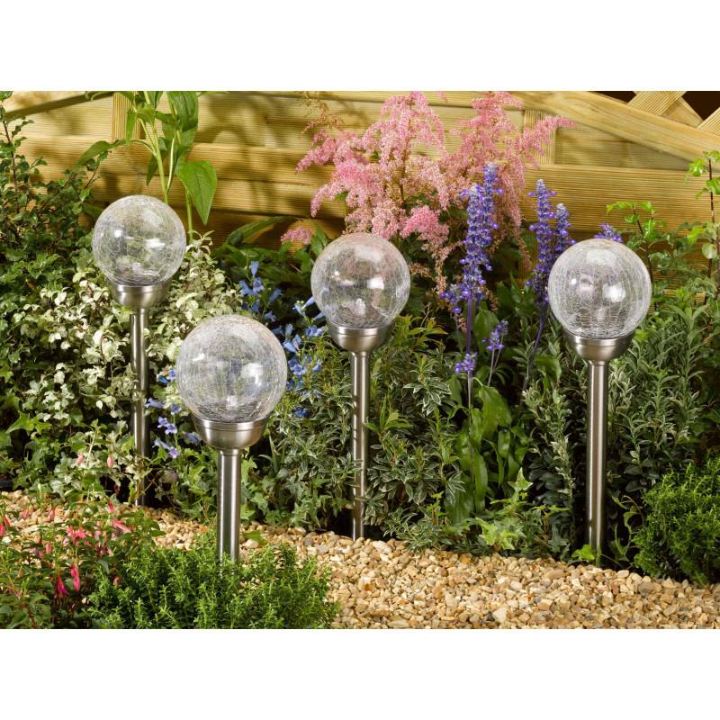 Balises solaires led perles de ros e les 4 jardin et - Balises solaires de jardin ...