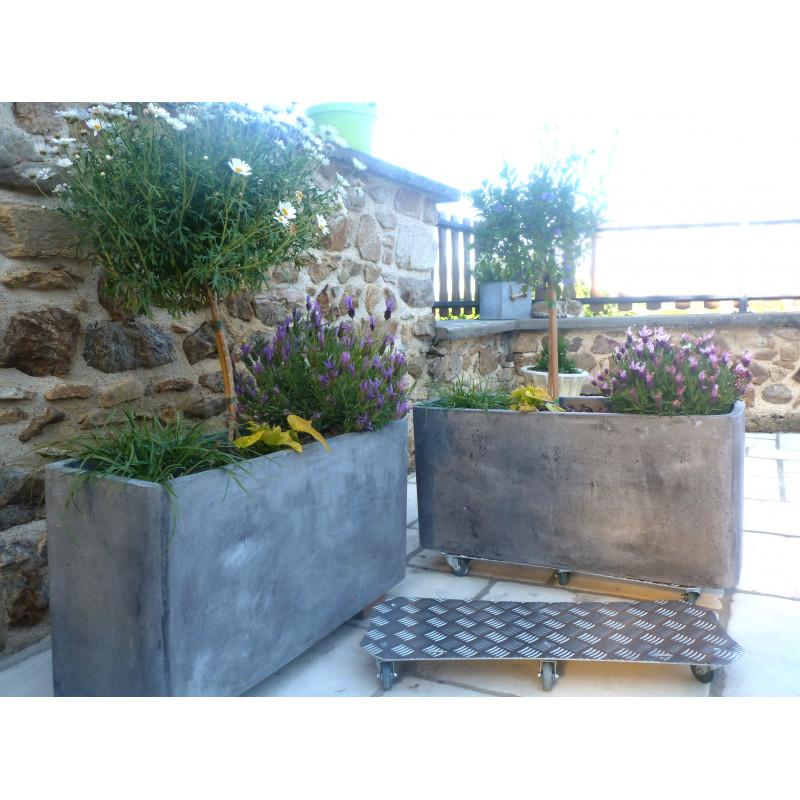 Support de plantes roulettes alu jardini re jardin et saisons - Support a roulettes pour plantes ...