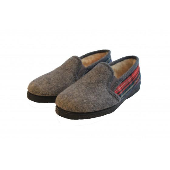 Pantoufle charentaise grise et rouge T41