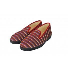 Pantoufle charentaise rayée rouge femme T41