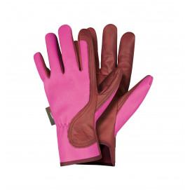Gants en cuir hydrofuge rose/bordeau Femme