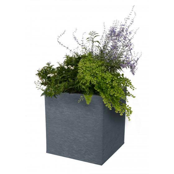 Pot à Fleurs Blanc avec Bord Rond en Plastique Résistant Pot à Fleurs