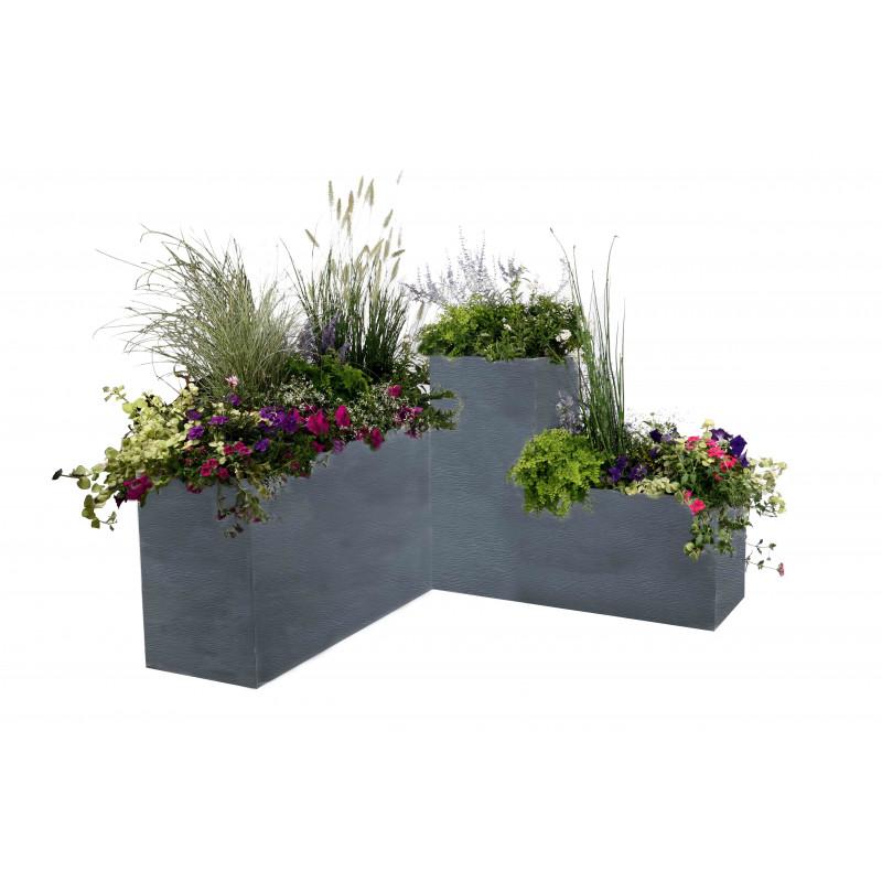 bac fleurs rectangulaire gris 98 litres chez jardin et. Black Bedroom Furniture Sets. Home Design Ideas