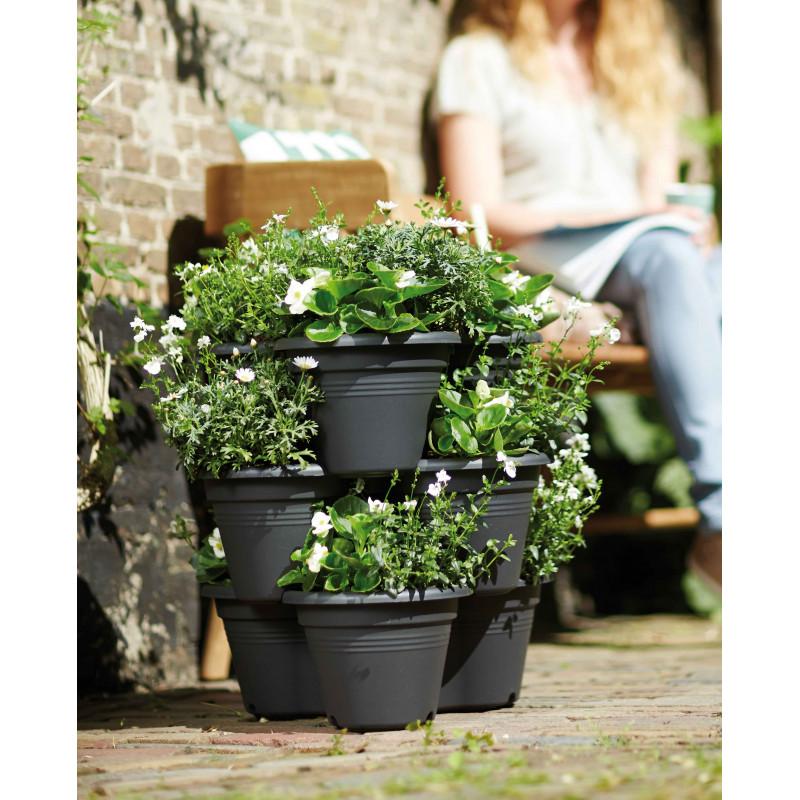cascade de pots de fleurs 3 niveaux pour plantes aromatiques. Black Bedroom Furniture Sets. Home Design Ideas