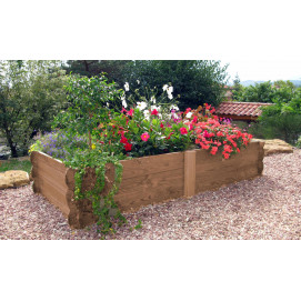 Maxi rectangle potager en bois non traité H 33 cm