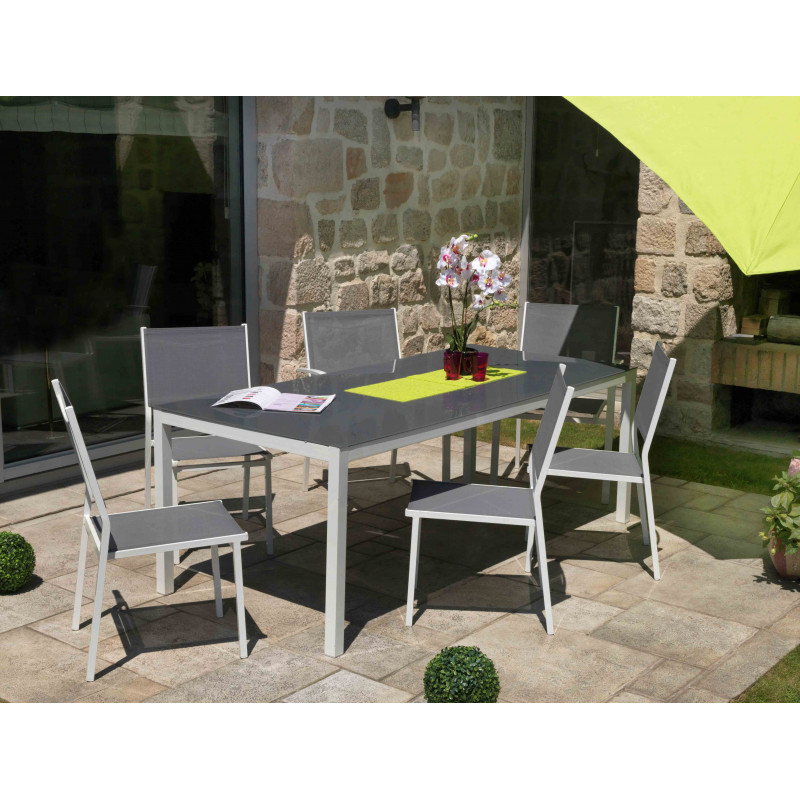 ensemble repas table de jardin extensible et 6 fauteuils aluminium gris anthracite. Black Bedroom Furniture Sets. Home Design Ideas