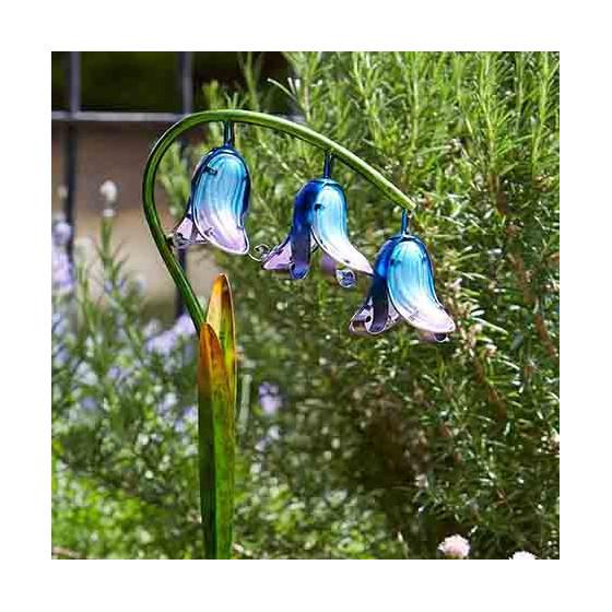 Balise solaire LED fleur jacinthe en verre - Jardin et Saisons