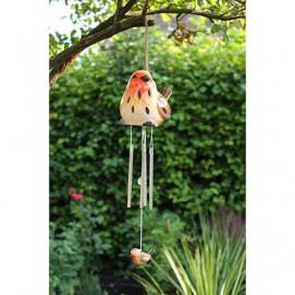 Carillon à vent solaire avec oiseau rouge gorge en céramique