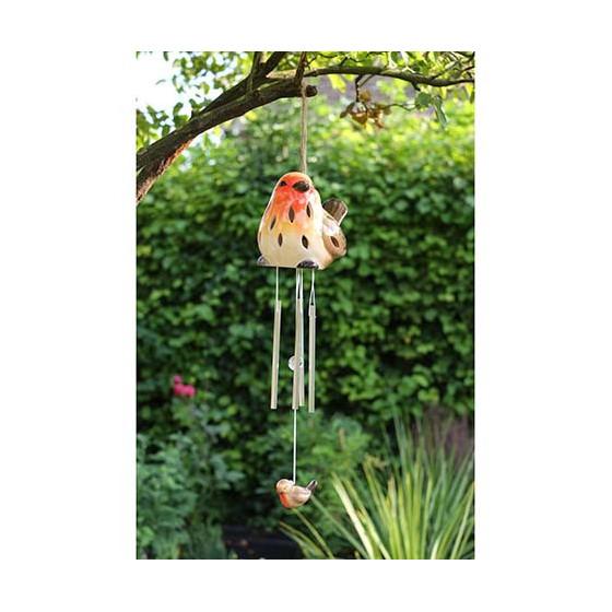 carillon vent solaire avec oiseau en c ramique jardin et saisons. Black Bedroom Furniture Sets. Home Design Ideas