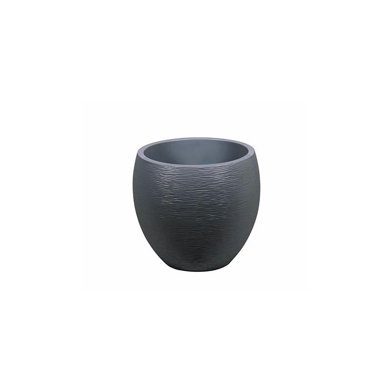 pot de fleurs rond 46 litres gris anthracite jardin et saisons. Black Bedroom Furniture Sets. Home Design Ideas