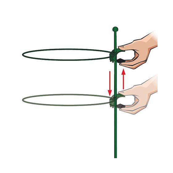 Tuteur 1 support d'1m avec un anneau cercle diamètre 22 cm