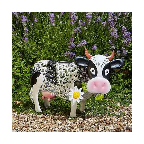 vache d corative solaire en m tal jardin et saisons