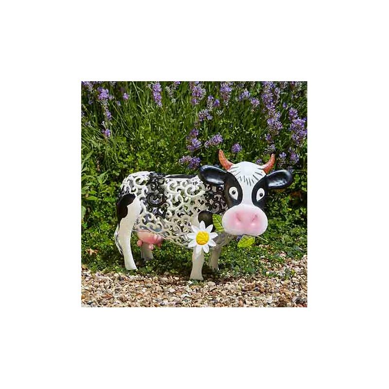 Vache décorative solaire en métal - Jardin et Saisons