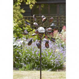 Girouette éolienne décorative en métal avec globe solaire