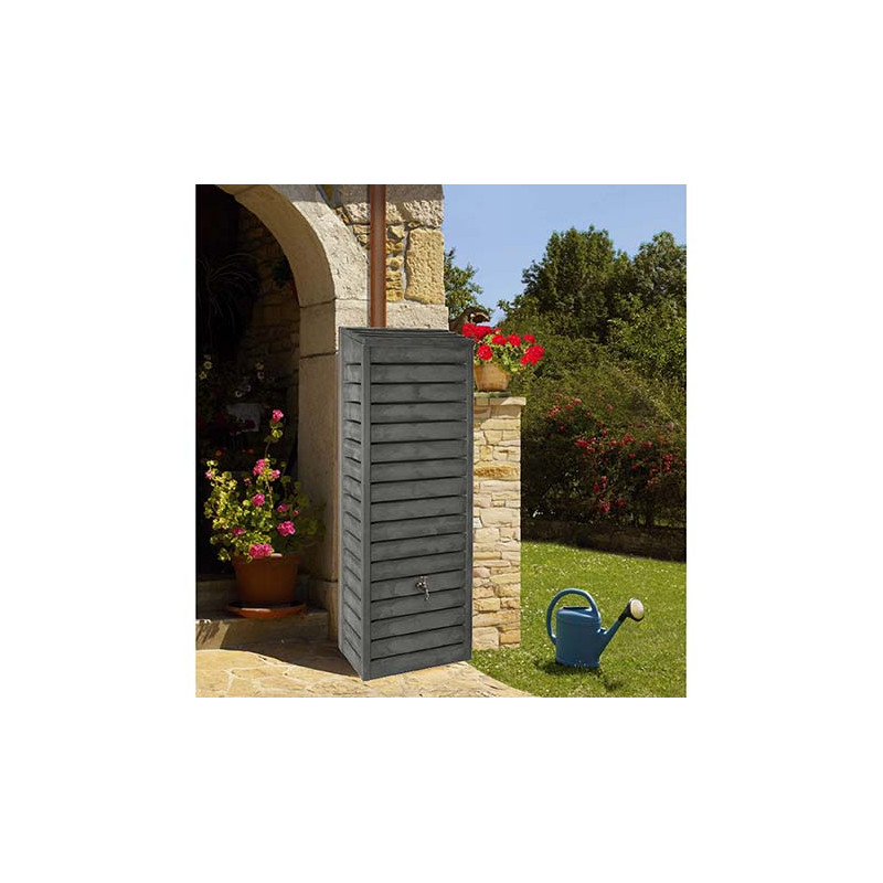r cup rateur d 39 eau de pluie mural aspect bois 300 litres. Black Bedroom Furniture Sets. Home Design Ideas