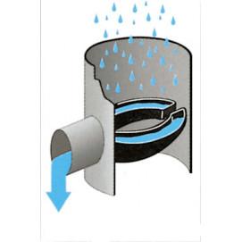 Collecteur d'eau de pluie gris pour descente cylindrique