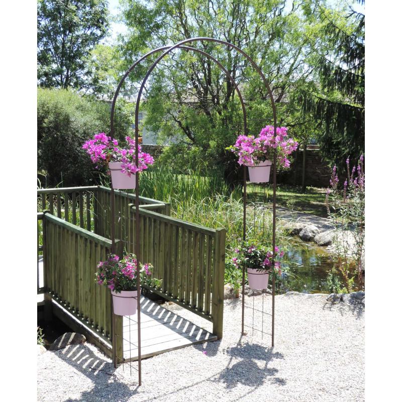 L 39 arche de jardin double treillage en acier de jardin et for Jardinetsaisons