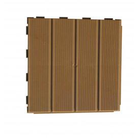 Dalle de jardin clipsable rainurée marron clair 28 x 28 cm