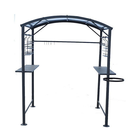 carport en acier gris anthracite pour barbecue jardin et. Black Bedroom Furniture Sets. Home Design Ideas