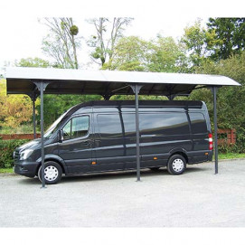 Carport aluminium gris pour camionnette, camping-car, caravane