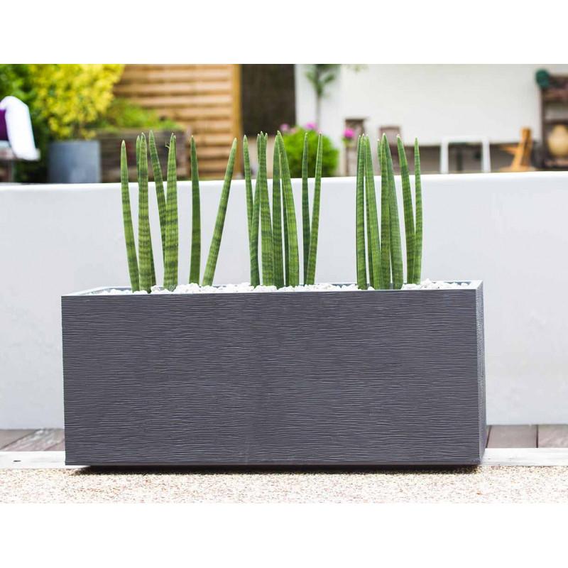 bac fleurs rectangulaire gris 98 litres chez jardin et saisons. Black Bedroom Furniture Sets. Home Design Ideas
