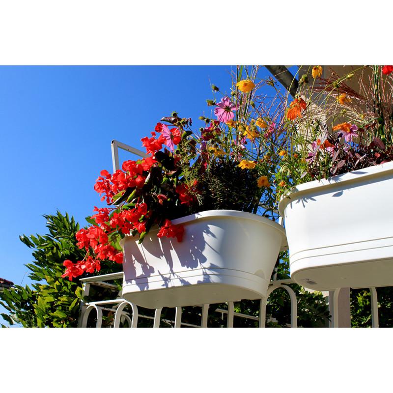 Jardiniere balconni re blanche avec support jardin et for Jardinetsaisons