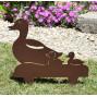 Figurine en métal d'une cane et ses petits en fer vieilli à planter