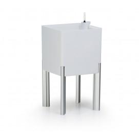 Pot de fleur design carré blanc sur pied avec réserve d'eau