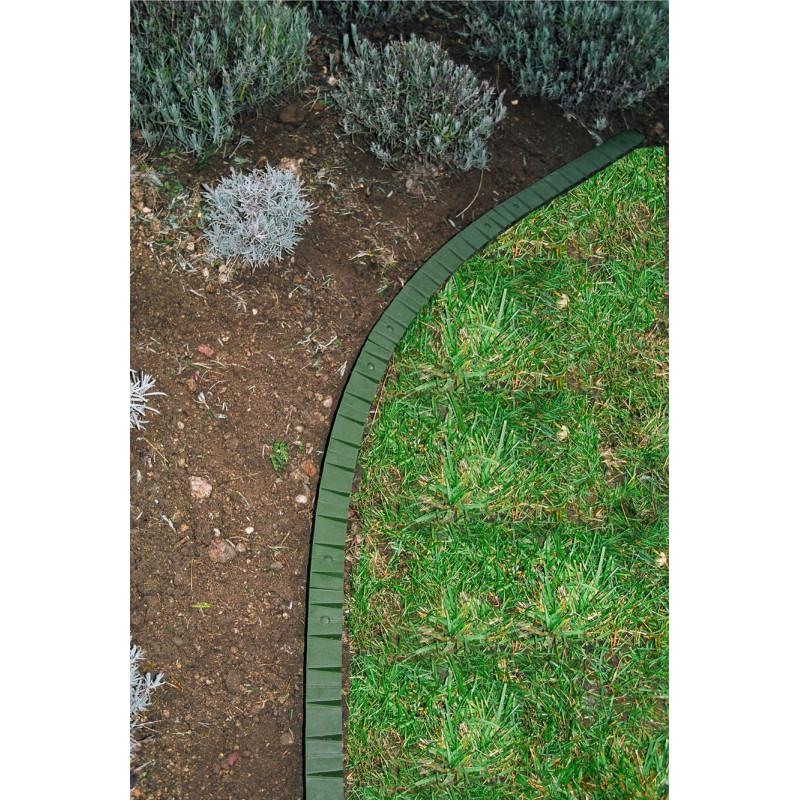 Bordure de gazon à rebord plat en plastique Jardin et Saisons verte
