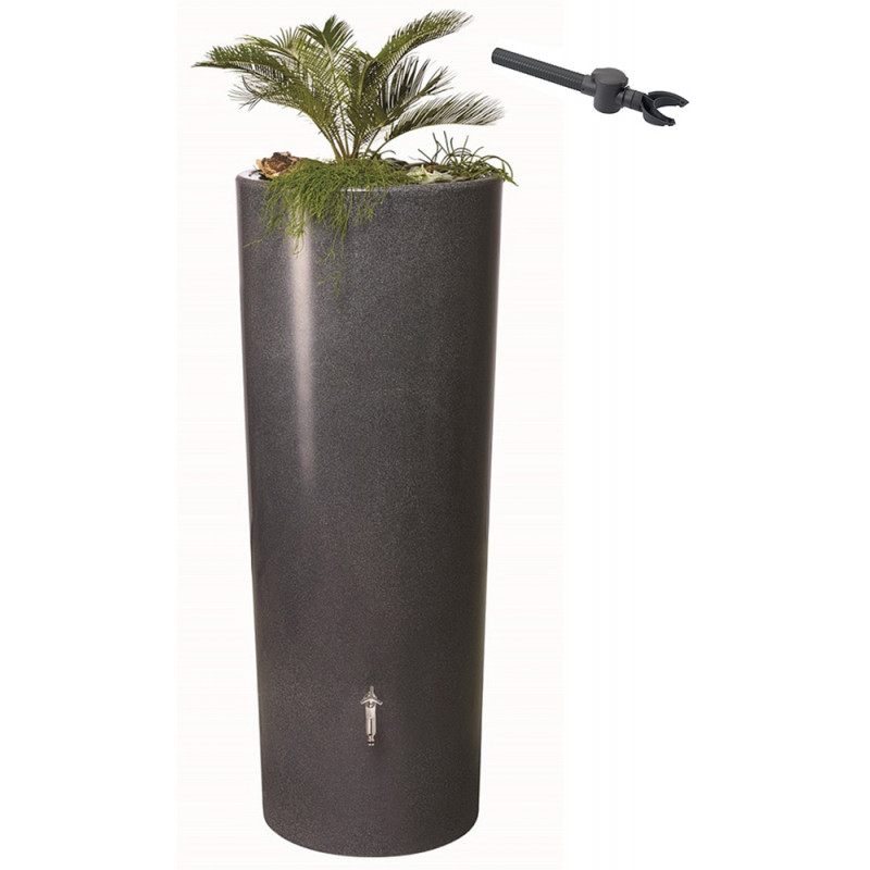 r cup rateur d 39 eau de pluie aspect pierre 350 l gris anthracite. Black Bedroom Furniture Sets. Home Design Ideas