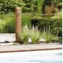 Fontaine de jardin imitation bois clair